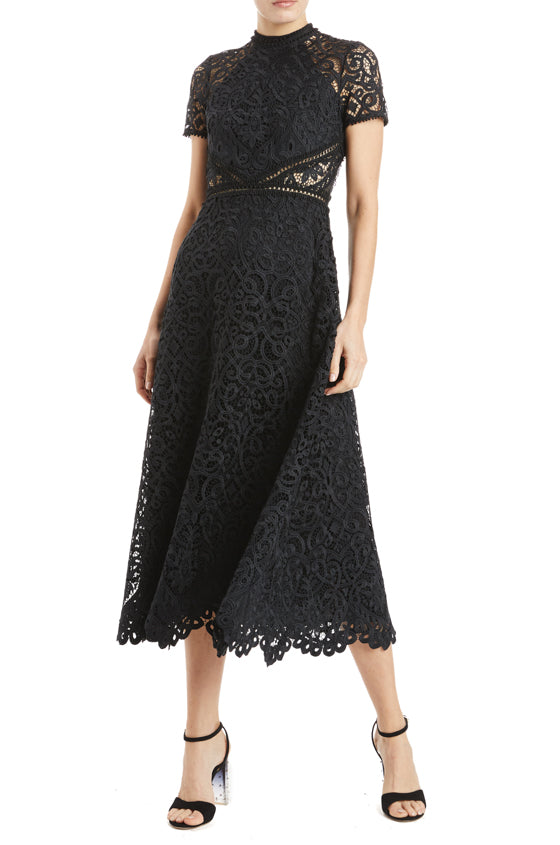 fall 2019 black lace midi dress with short sleeves