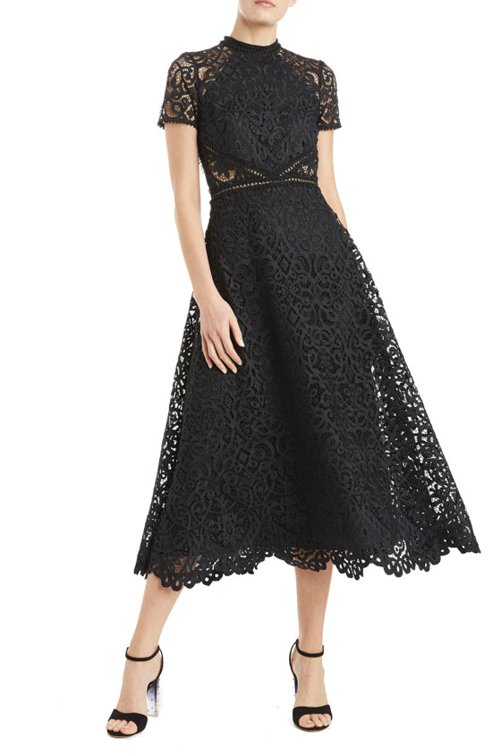 Black lace midi dress with short sleeves