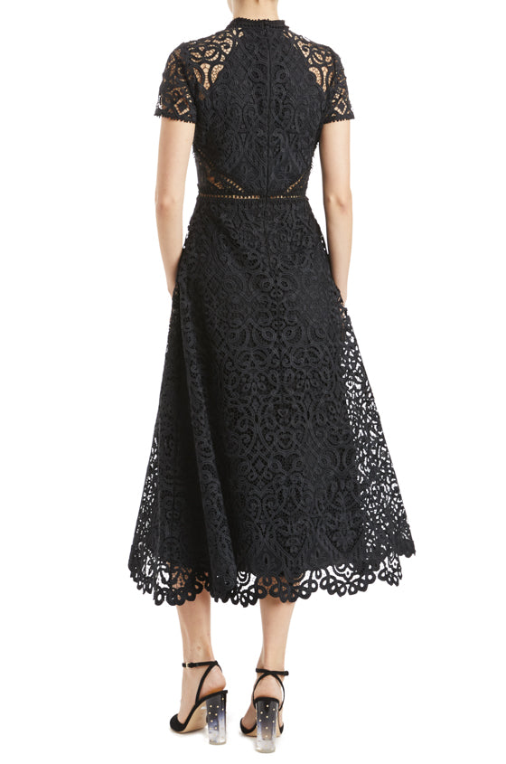 MLML short sleeve lace midi dress black