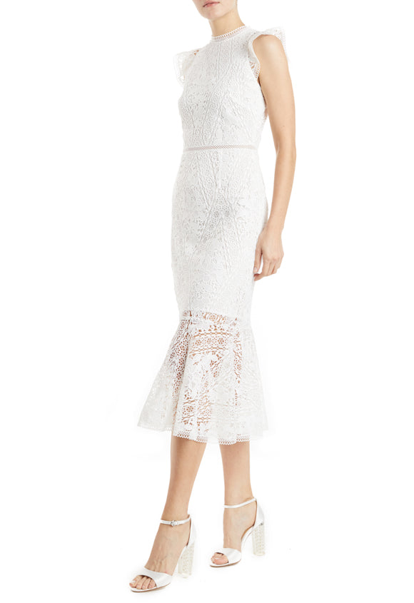 ML Monique Lhuillier white lace dress with ruffles