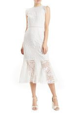Silk white lace midi dress