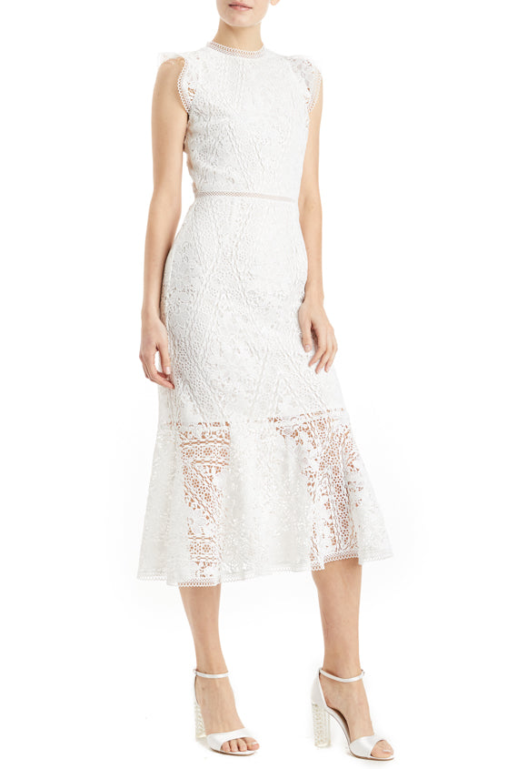 sleeveless white lace dress with ruffle hem