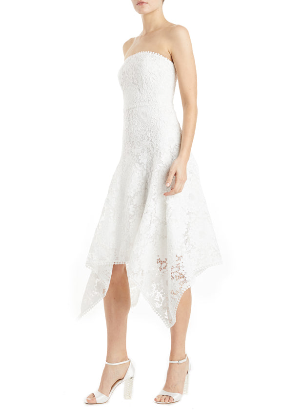 ML Monique Lhuillier White lace dress