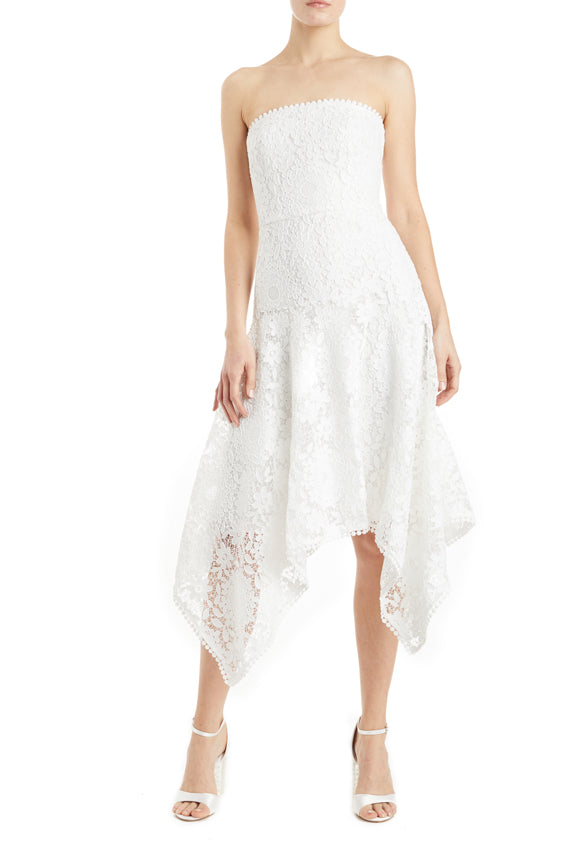 white lace strapless cocktail dress