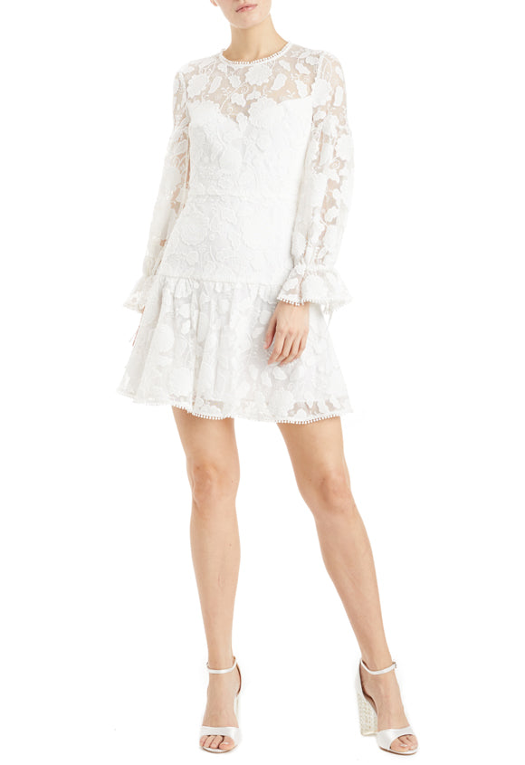 MLML white lace dress ruffle hem