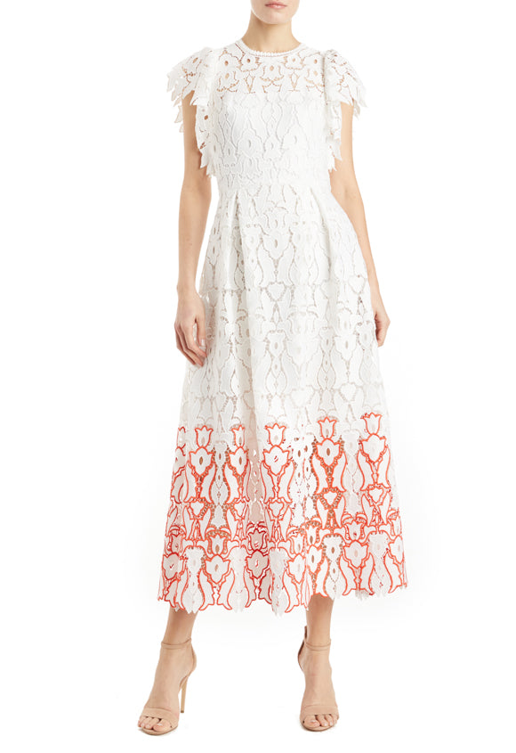 White lace dress ML monique lhuillier