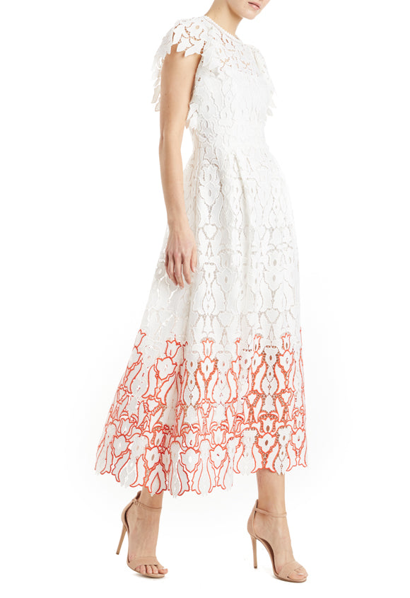 ML Monique Lhuillier Flutter Sleeve Lace Dress- FINAL SALE