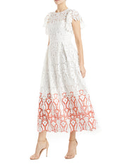 cap sleeve white lace dress