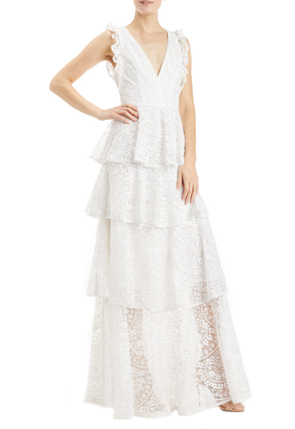 ML Monique Lhuillier lace gown white