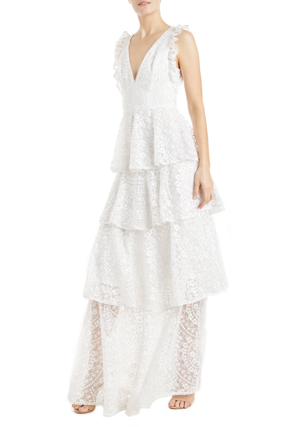 Fall 2019 tiered lace gown