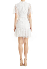 embroidered dress with cutaway sleeves