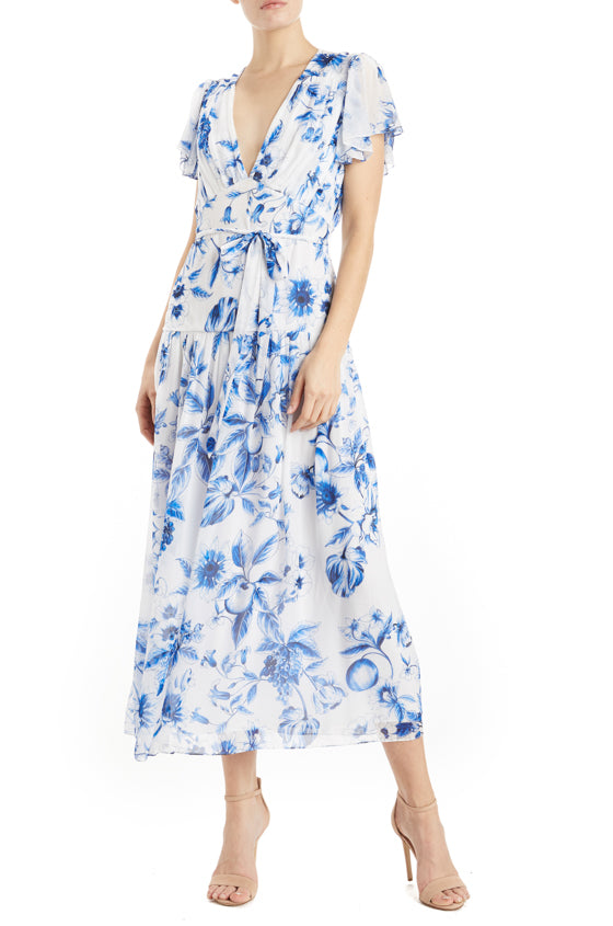 ML Monique Lhuillier Printed Midi Dress