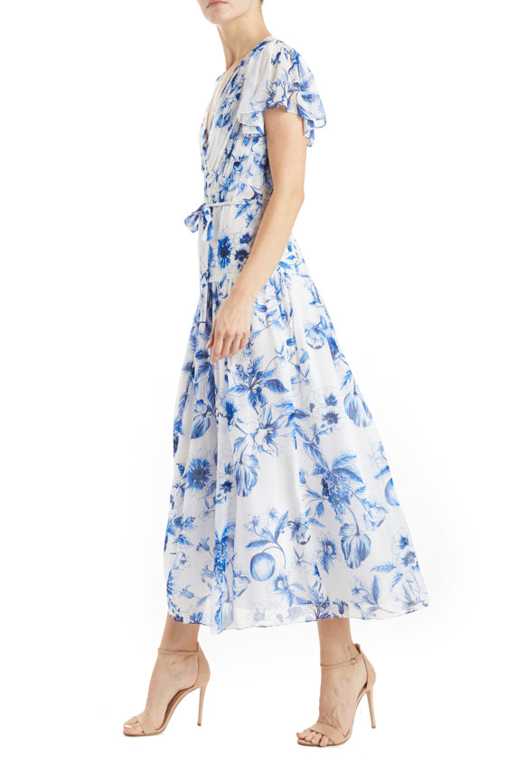 blue and white printed sundress