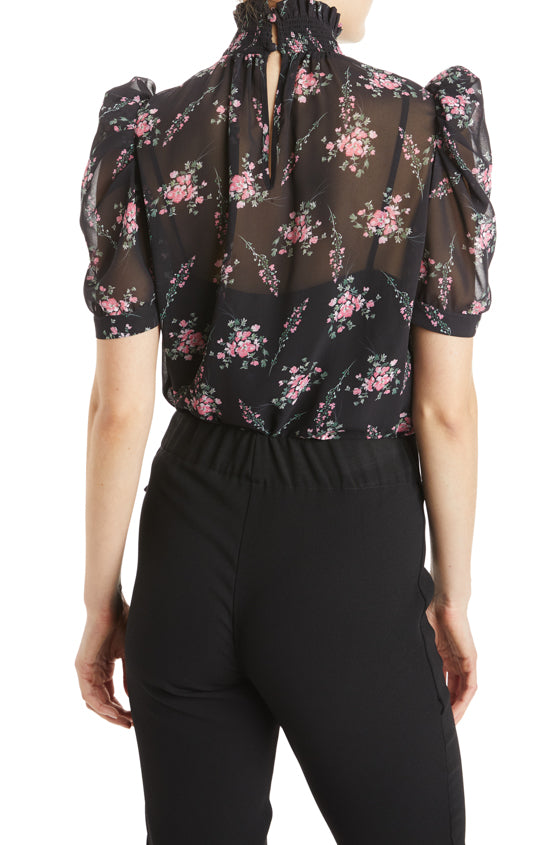 ML Monique lhuillier black and pink floral