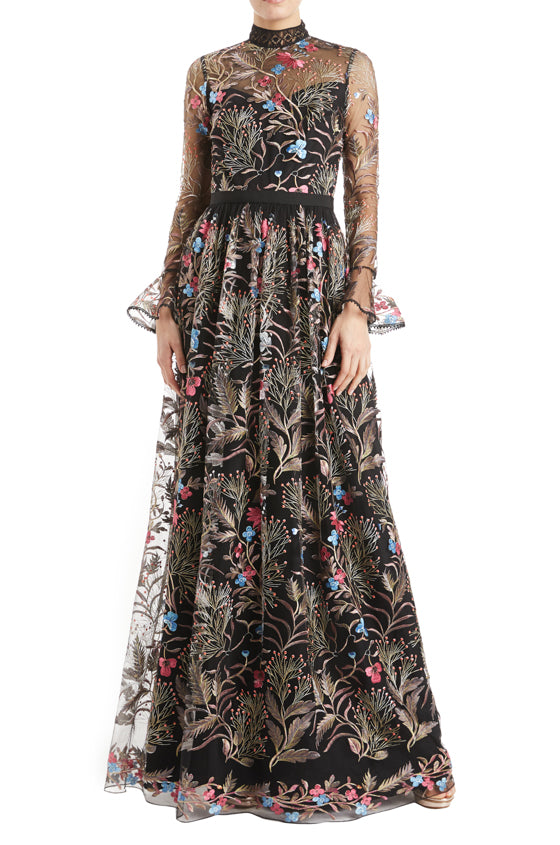 ML Monique Lhuillier Embroidered Floral Gown with long sleeves