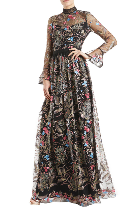Floral Evening gown with long sleeves and high neck detail