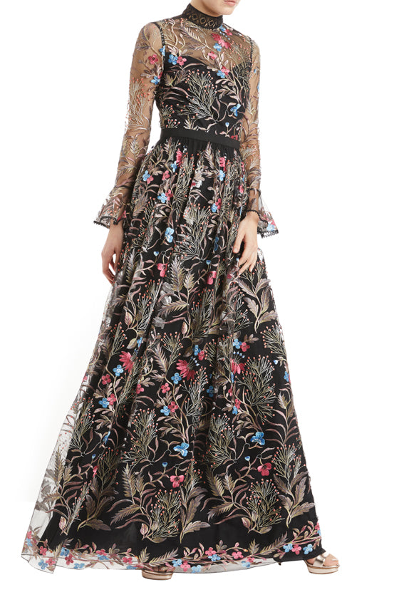Long sleeve floral gown with a high neck detail