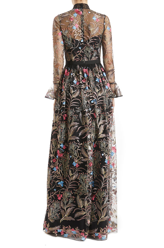 Fall 2019 black floral gown with ruffle sleeve cuffs