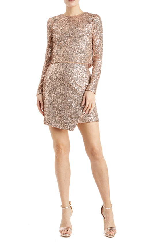 Rose gold sequin mini skirt