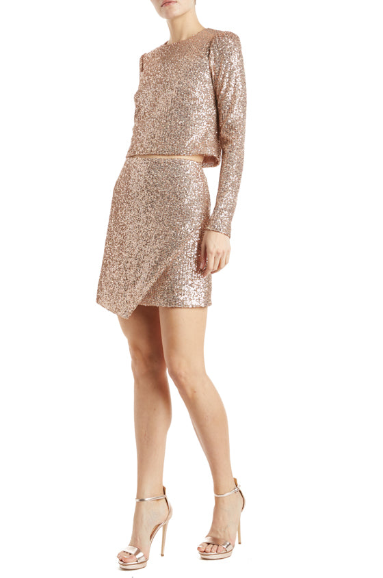 Fall 2019 gold mini skirt sequin