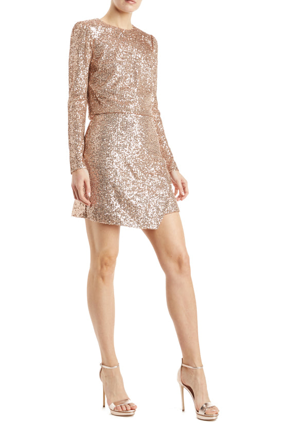 ML Monique Lhuillier rose gold sequined top