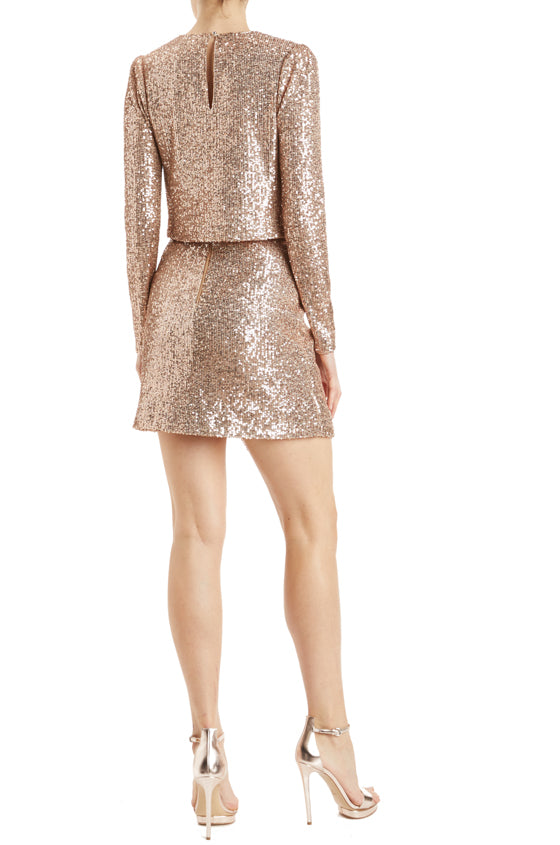 faux wrap rose gold sequined mini skirt