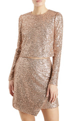 Rose gold sequined top long sleeves
