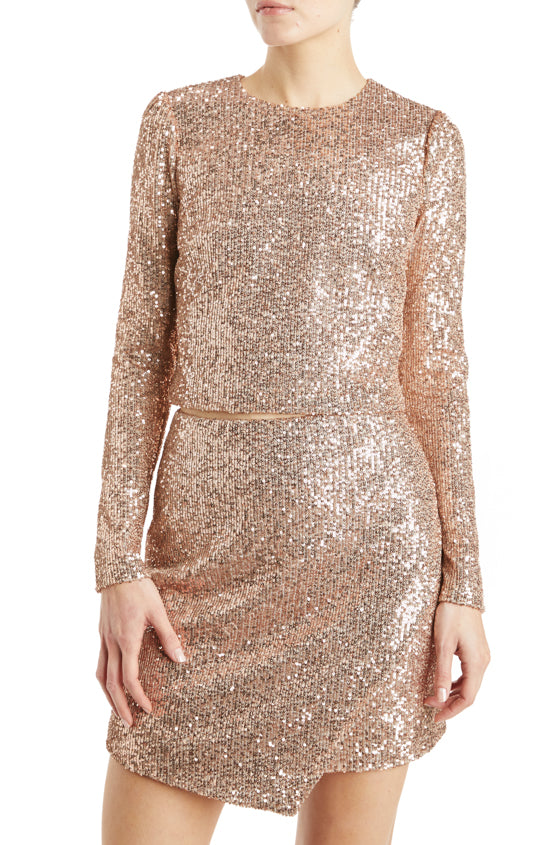 Long sleeve top rose gold sequins