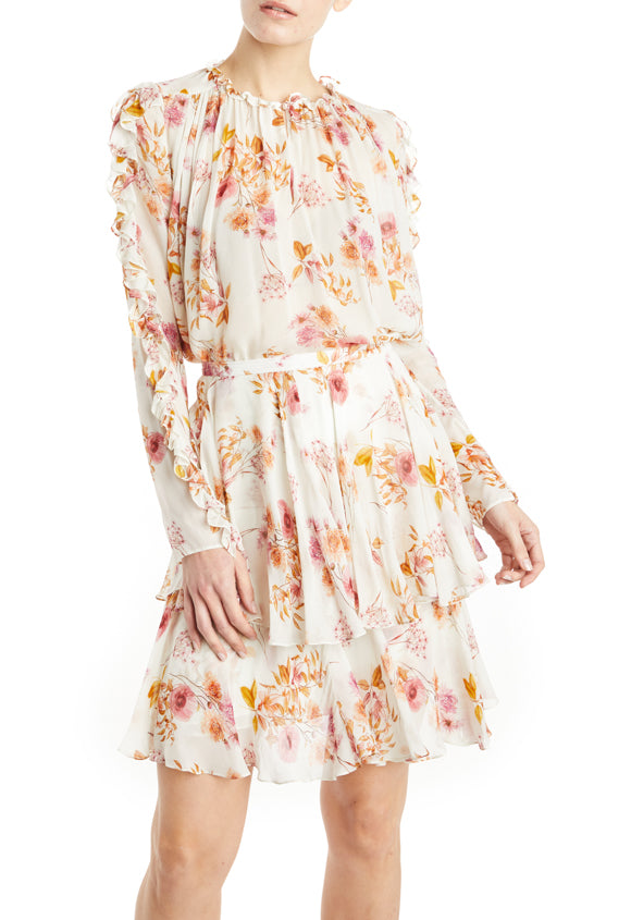 ML Monique Lhuillier Floral Blouse