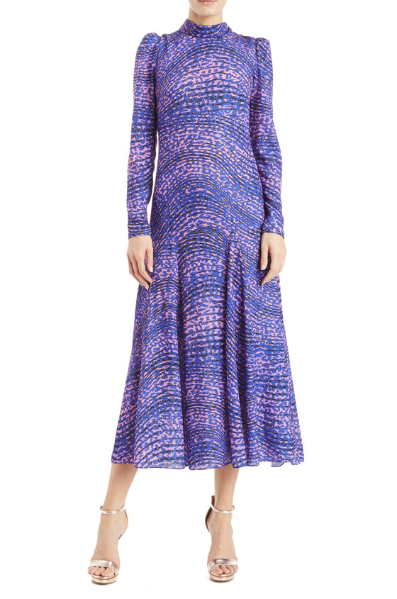 Monique Lhuillier Purple Godet Dress