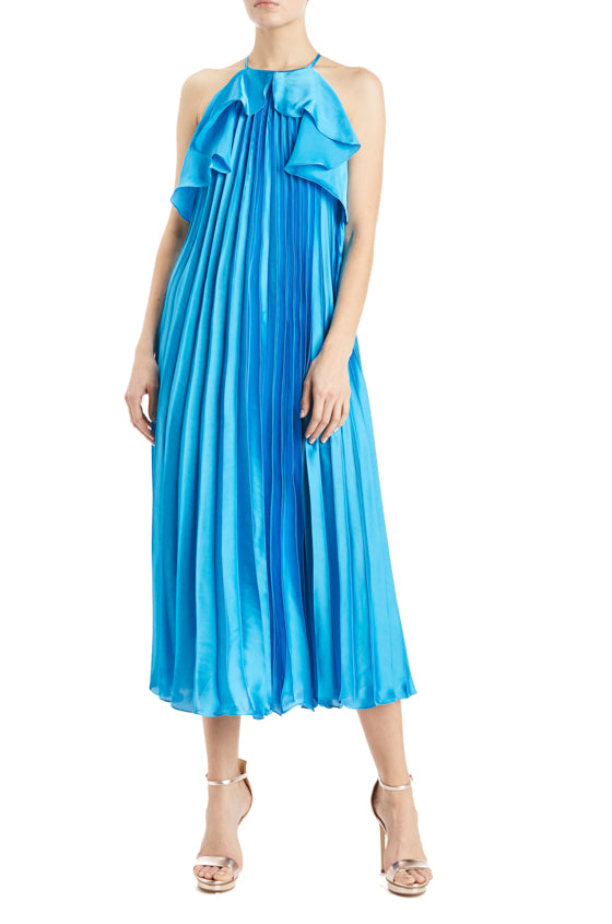 ML Monique Lhuillier Blue Pleated Dress