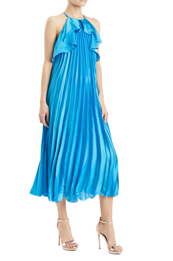 Pleated Blue Midi Dress