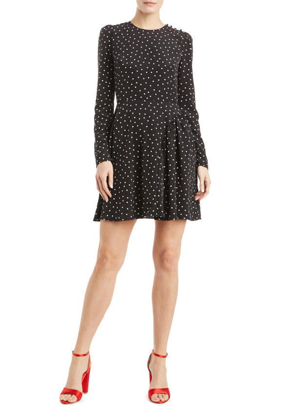 Long sleeve polka dot dress with pleats