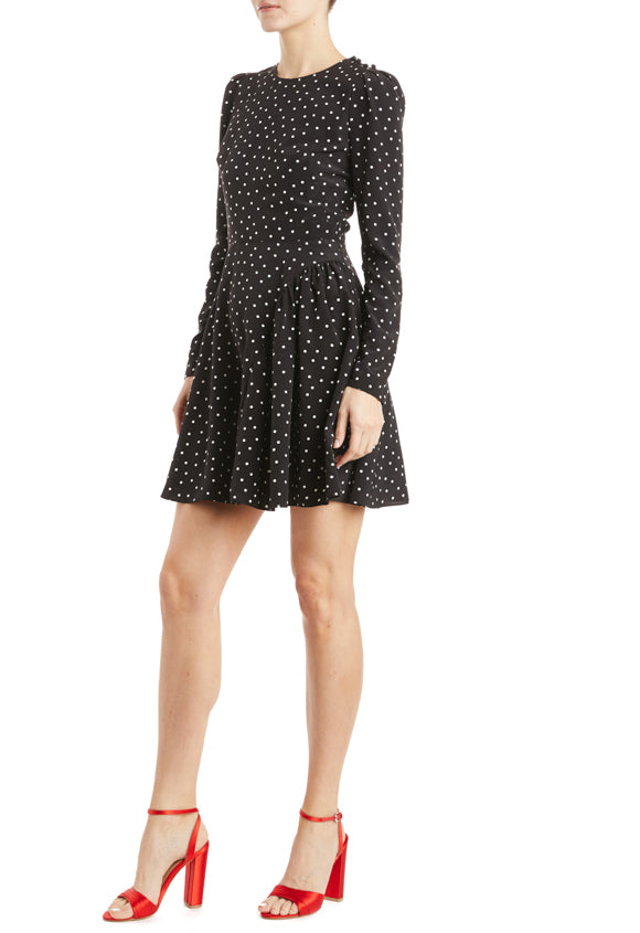 ML Monique Lhuillier Polka dot dress with statement shoulder