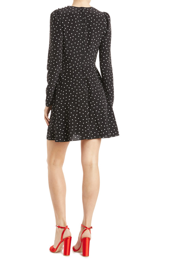Long sleeve dress with polka dots and hidden back zipper