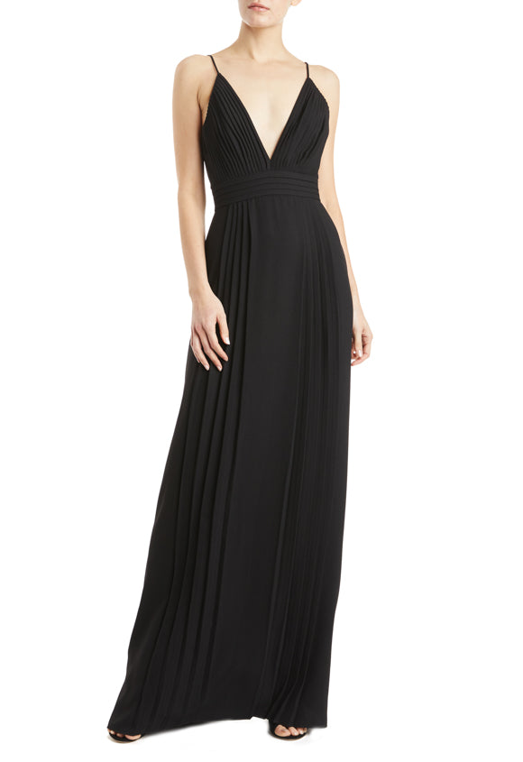 Black evening gown with v-neck