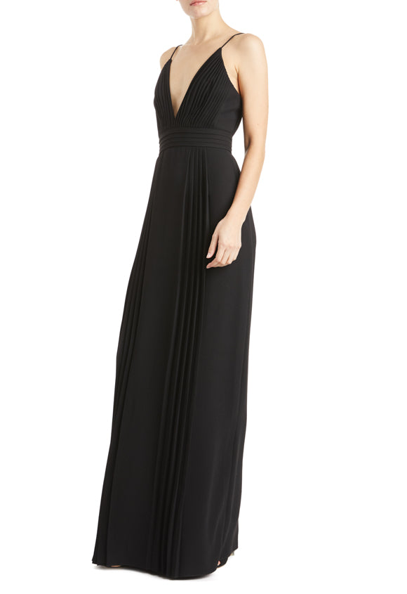 ML Monique lhuillier black v-neck gown