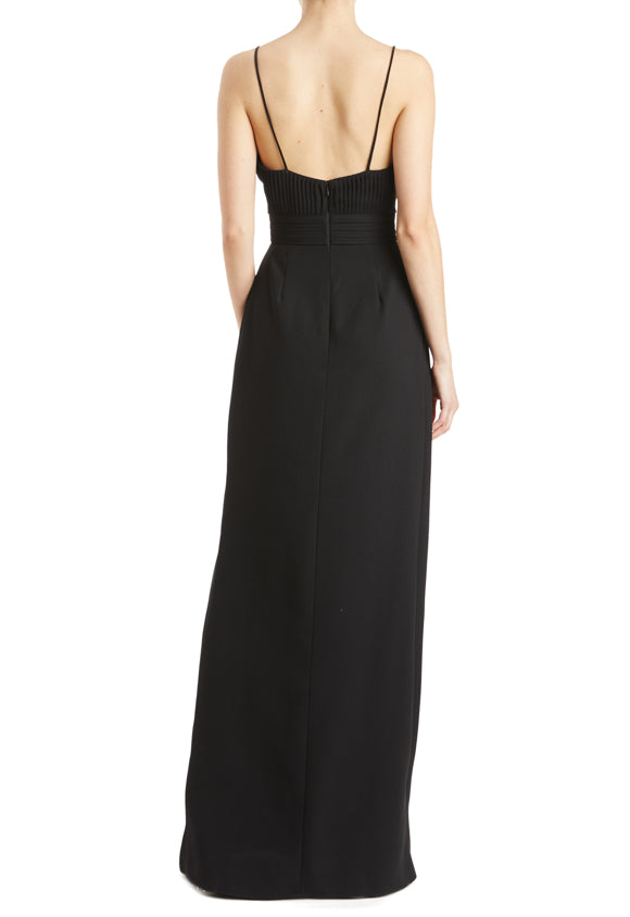 Sleeveless pleated gown black