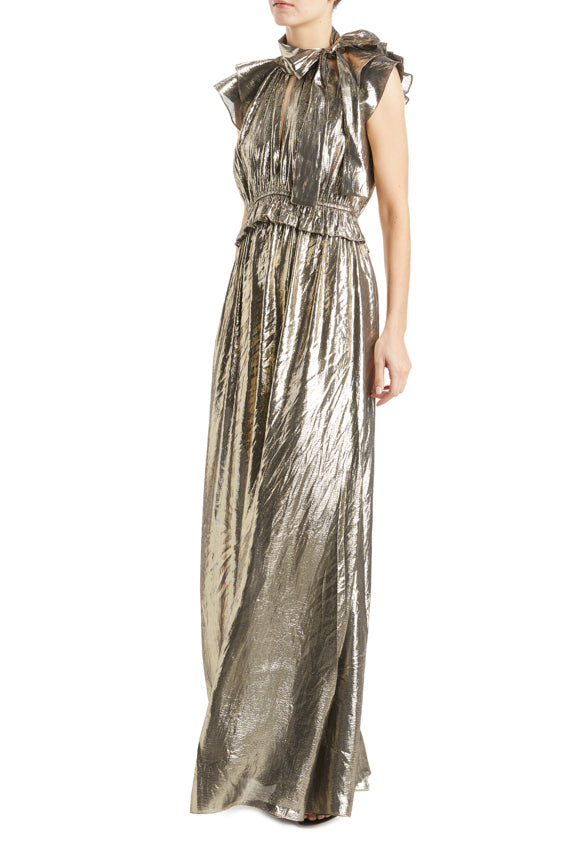 Metallic gold maxi gown with flutter sleeves