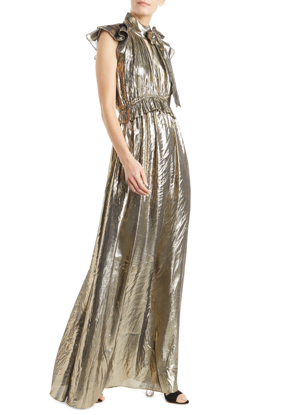 Fall 2019 Holiday Gown Gold Metallic Maxi