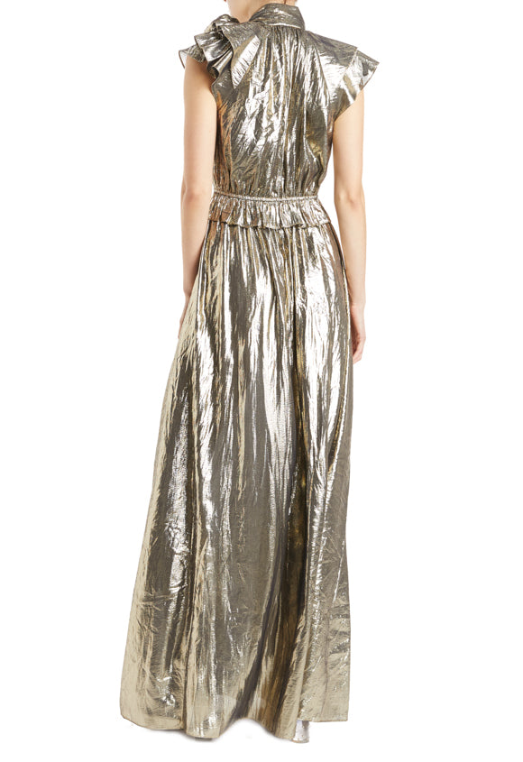 Metallic Gold Gown with tie neckline and flutter sleeves