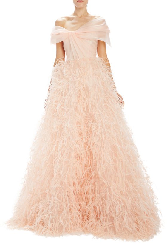 Monique Lhuillier evening gown with feathers