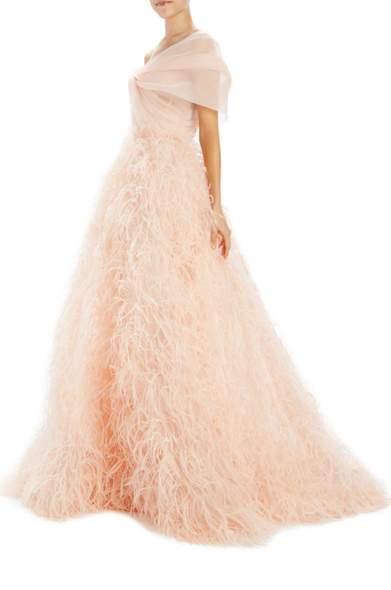 Spring 2020 Pale Peach Gown with draped bodice