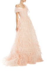 Pale peach asymmetric draped bodice ball gown