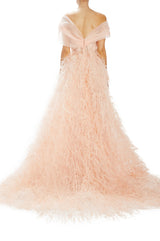 Embroidered tulle and organza evening gown Pale peach