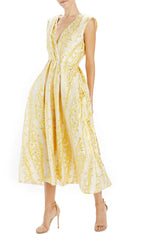 yellow and gold sleeveless dress