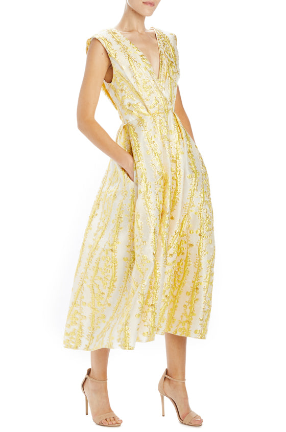 Monique lhuillier gold cocktail dress with pockets