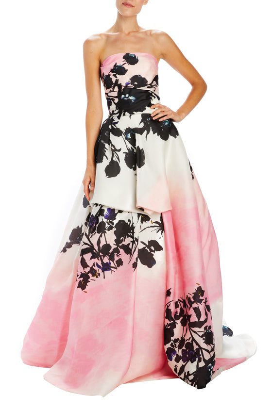 Floral printed organza ball gown