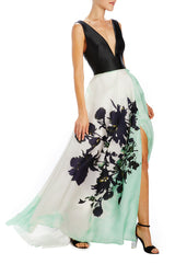 Monique Lhuillier printed floral ball gown