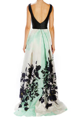 Mint v-neck evening gown